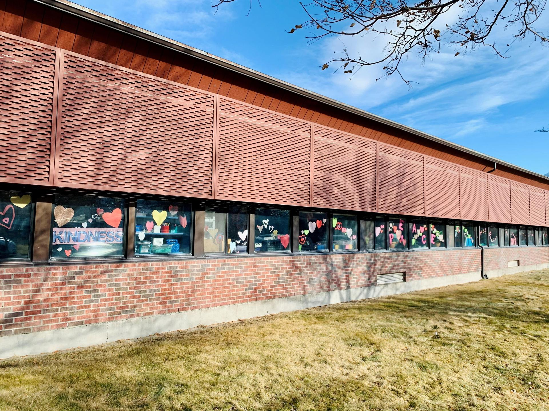 Windows decorated on outside of school building