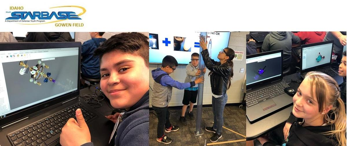 collage of photos of students at starbase activity