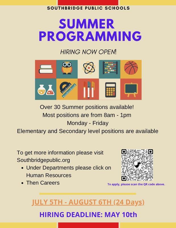 Flyer for hiring in summer programs