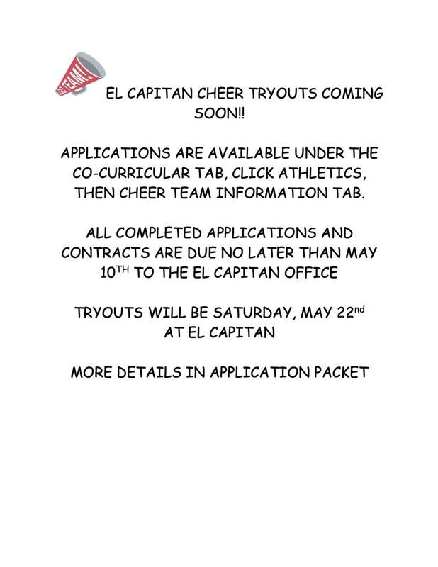 Cheer tryout applications under Co-Currlcular tab, click athletics, then cheer team info