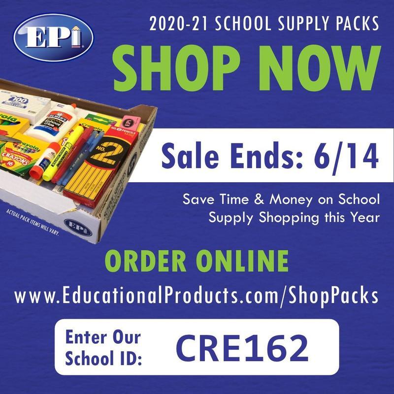 EPI SCHOOL SUPPLIES CODE CRE162