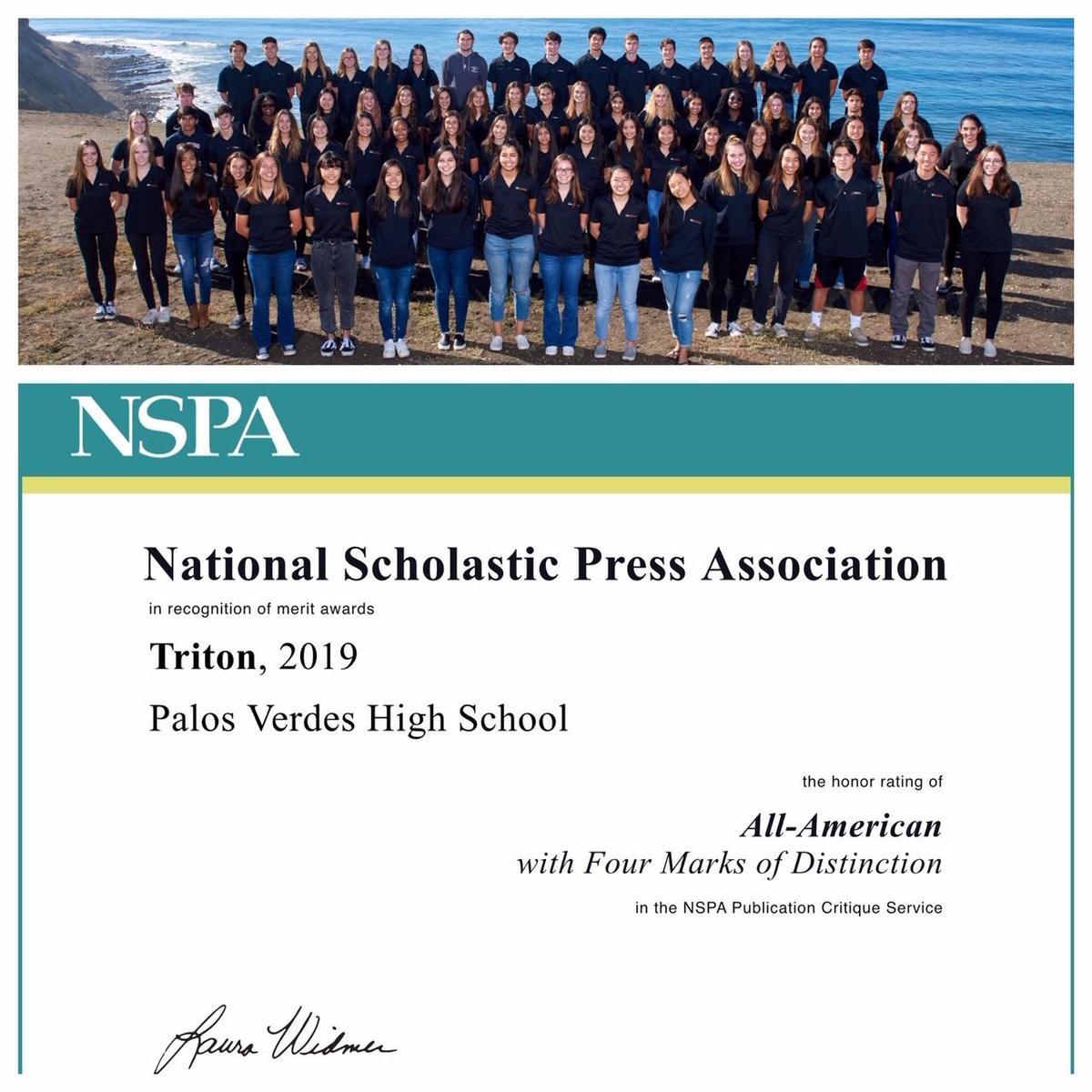 NSPA Awards Triton Yearbook 2019 All-American Award
