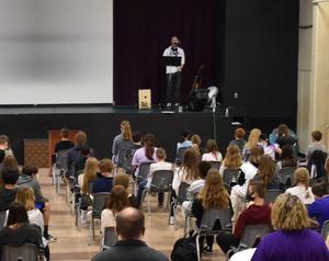 Mr Felton speaking at awards chapel