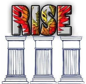 Three pillars and word RISE on top