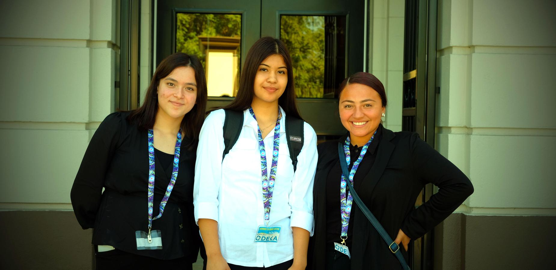 Pictured are the @ParkWestPUSD Graphic Design, @villageAcadPUSD Culinary and @GareyPUSD #DECA Students supporting the CTE/STEM Symposium. #Proud2bePUSD #ALLmeansALL