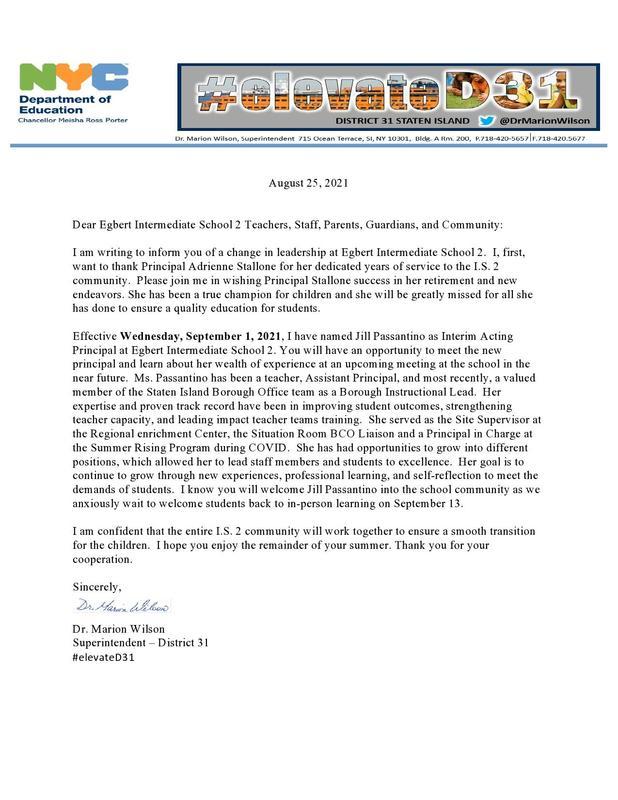 New Principal Announcement