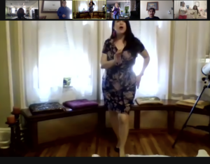 Ms. Silvia dancing on zoom
