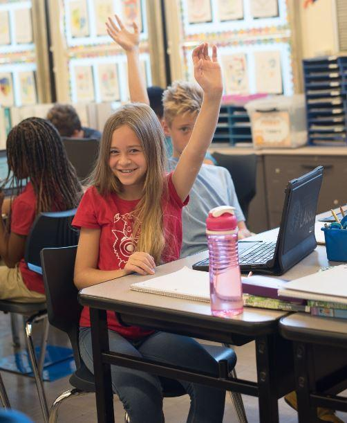 Students raising hand in small class