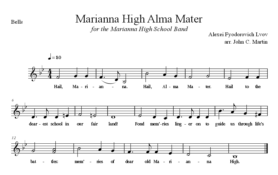 Sheet Music for Alma Mater for the Bells