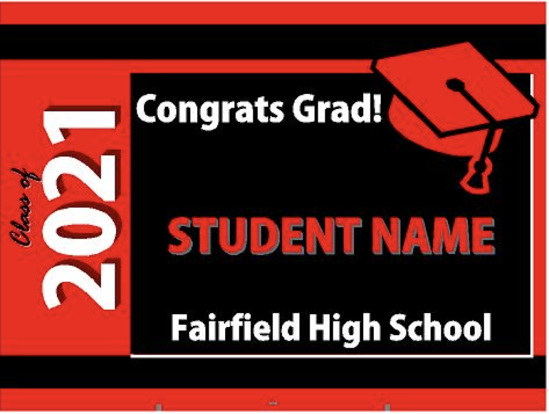 Image of the senior sign. It shows location on the sign for student's name and class of 2021