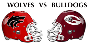 wolves vs. bulldogs helmets facing each other