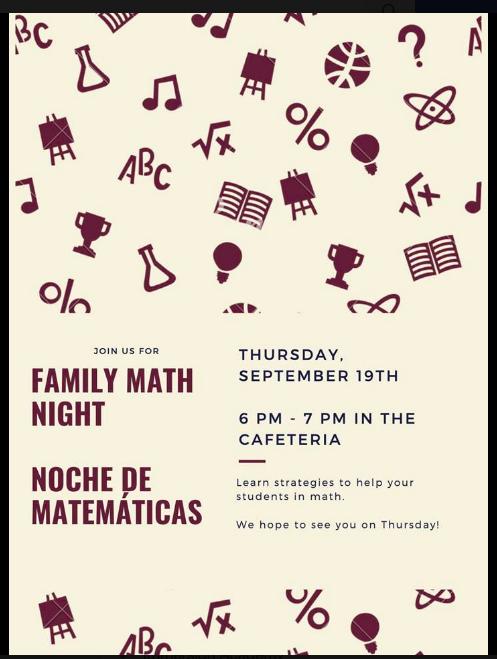 Family Math Night/ Noche de Matemáticas en Familia