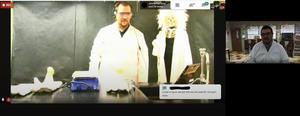 screenshot of Mr. Saldana and Mr. Mogne's science class battle.