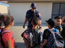 Biola-Pershing students meet a firefighter