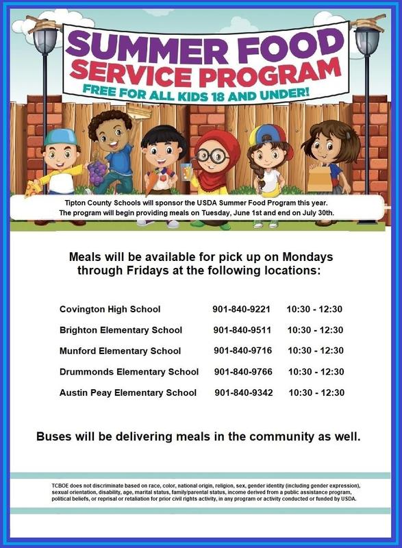 The Summer Food Service Program is free for all kids ages 18 and under..... more information available.