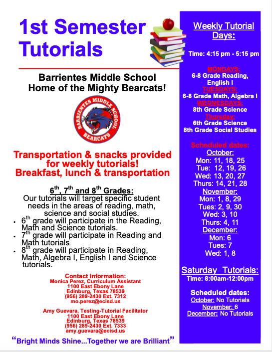 tutorials schedule