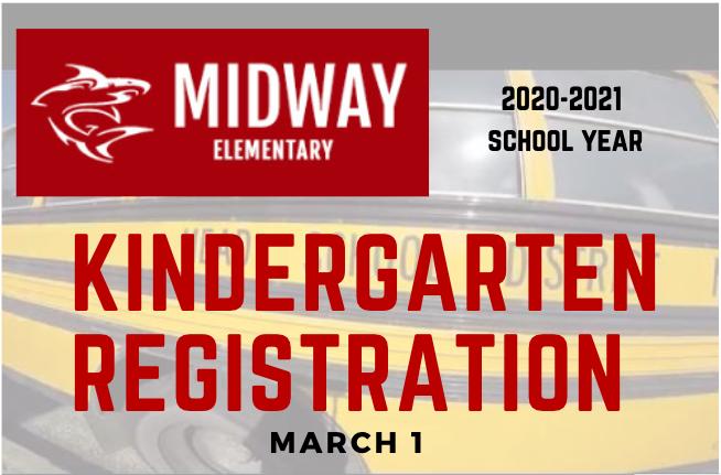 Kindergarten Registration logo with Midway shark