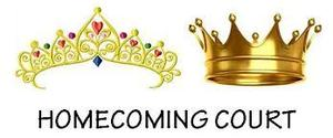 A tiara and crown golden in hue, above the words Homecoming court