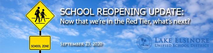 SCHOOL REOPENING UPDATE: Now that we are in the red tier what comes next?