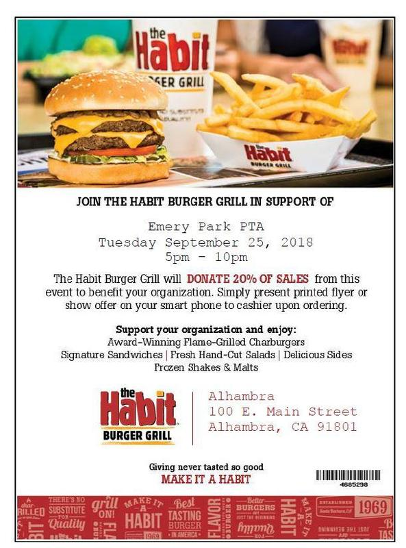 JOIN US AT THE HABIT & RAISE MONEY FOR EMERY PARK PTA! Featured Photo