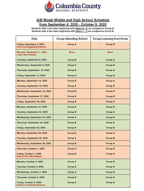 AB schedule update