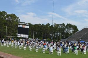 Brunswick High seniors participate in graduation practice.