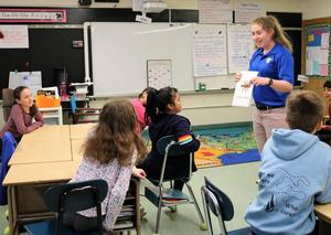 "During a special visit from NJDEP ""watershed ambassadors,"" Tamaques 5th graders learn about macroinvertebrates, small organisms found at the bottom of streams that can help determine the health of the water."