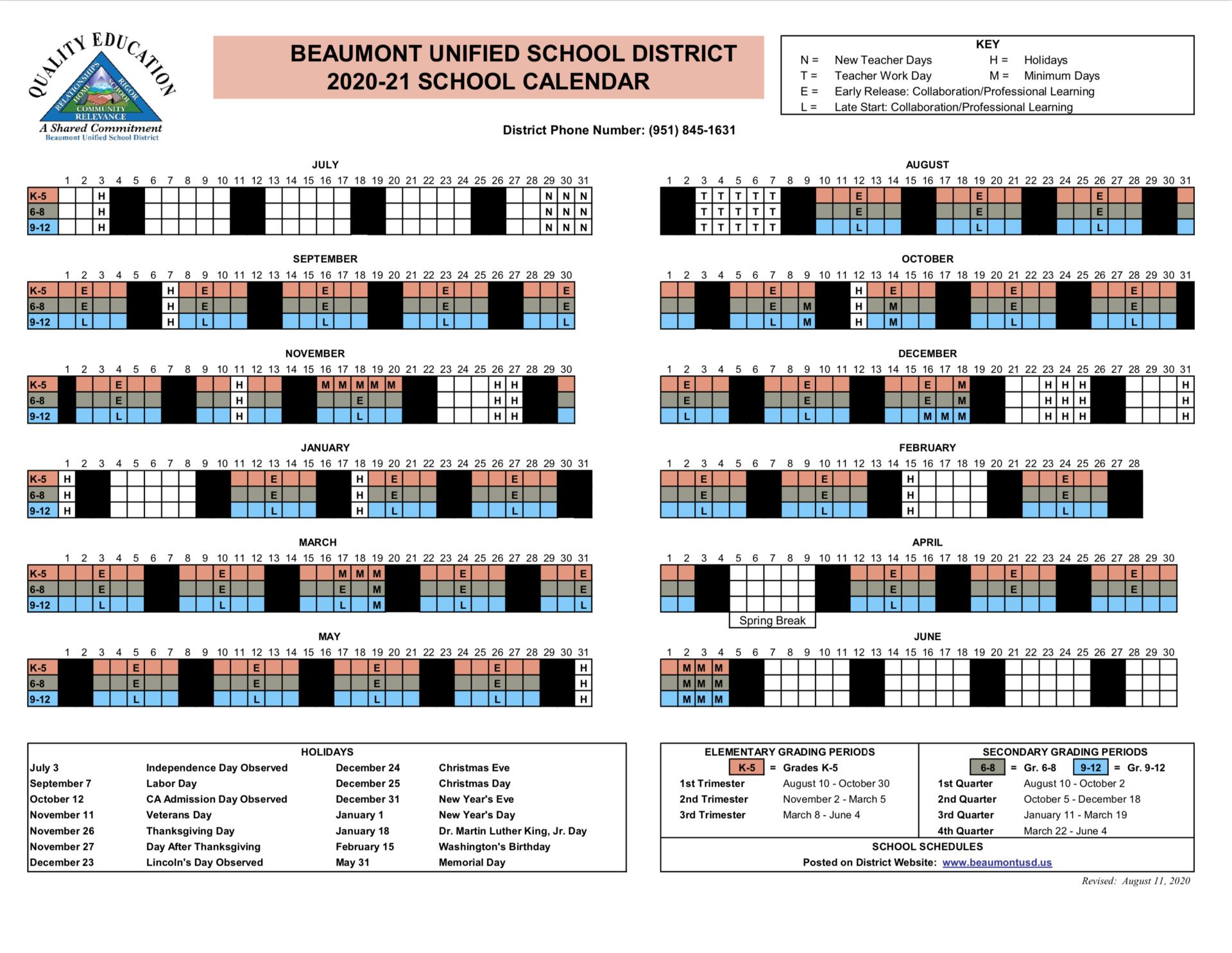 Instructional Calendar 2020-21 School Year