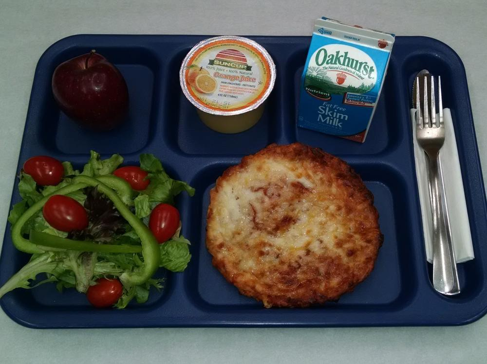 Personal Cheese Pizza, Salad, Apple, 100% Juice and Milk
