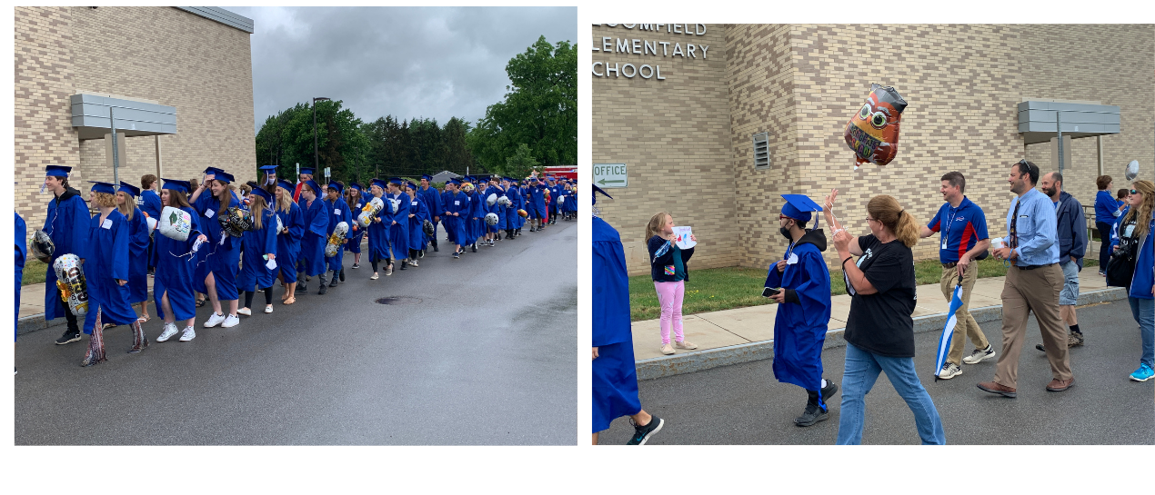 students in graduation cap and gown parade