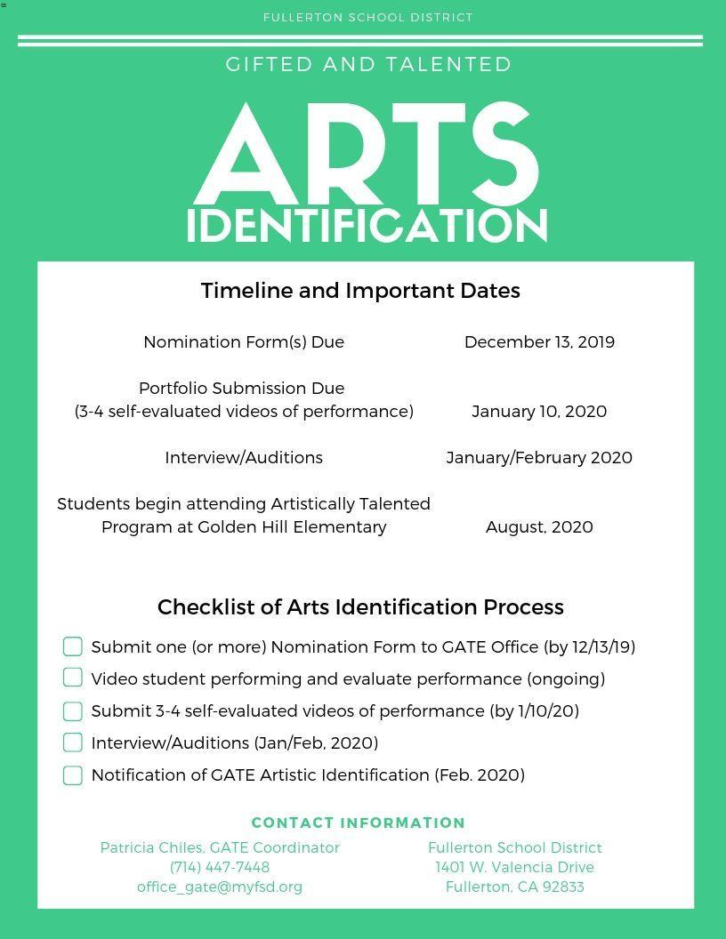 Flyer for Arts Identification