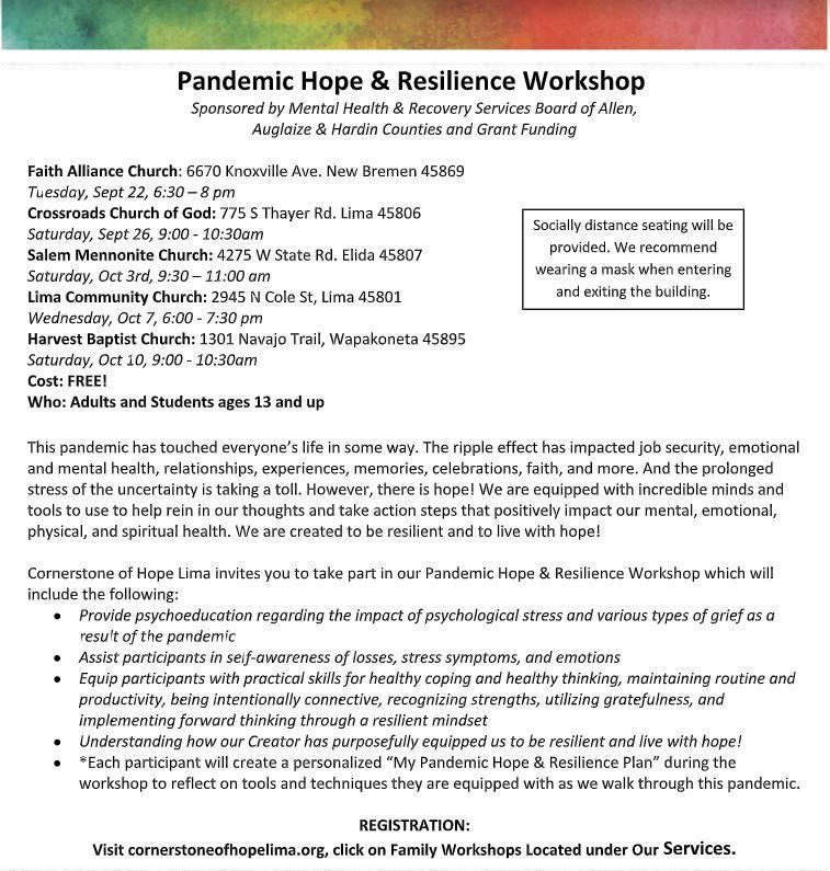 Pandemic Hope & Resilience Workshops Available for Families Thumbnail Image