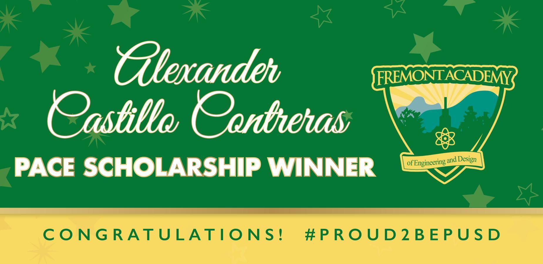 We are #PROUD of Alexander! Winner of the @PomonaUnified #PACE #Scholarship! #proud2bePUSD #CityOfPomona #Pomona #PUSD #Fremont #Classof2020