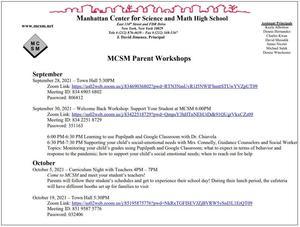 Parent Events September October