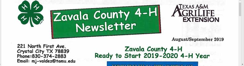 Zavala County 4-H Newsletter Featured Photo