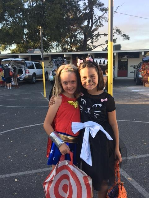 children dressed as wonder woman and cat