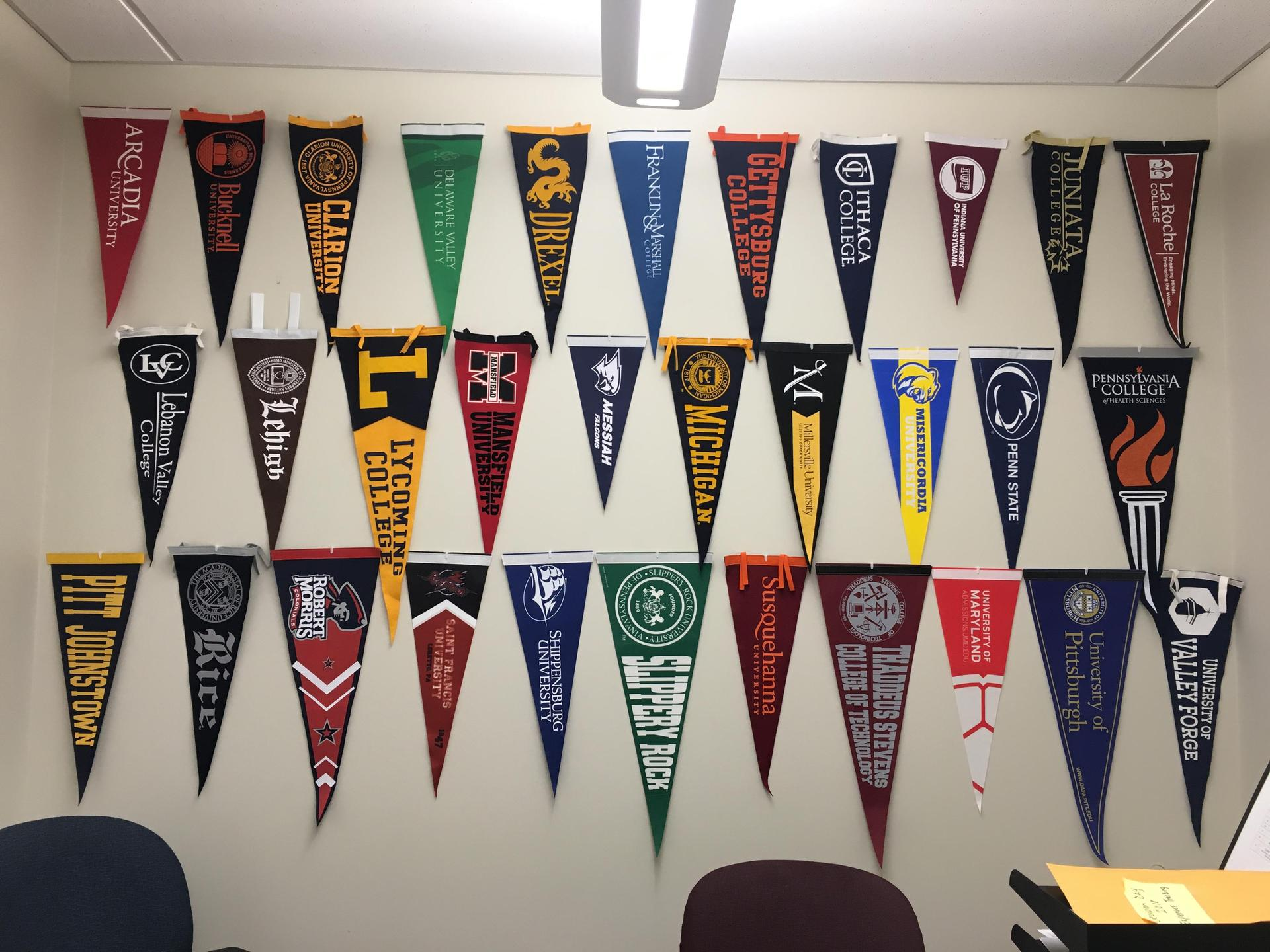 college pennants hung on wall