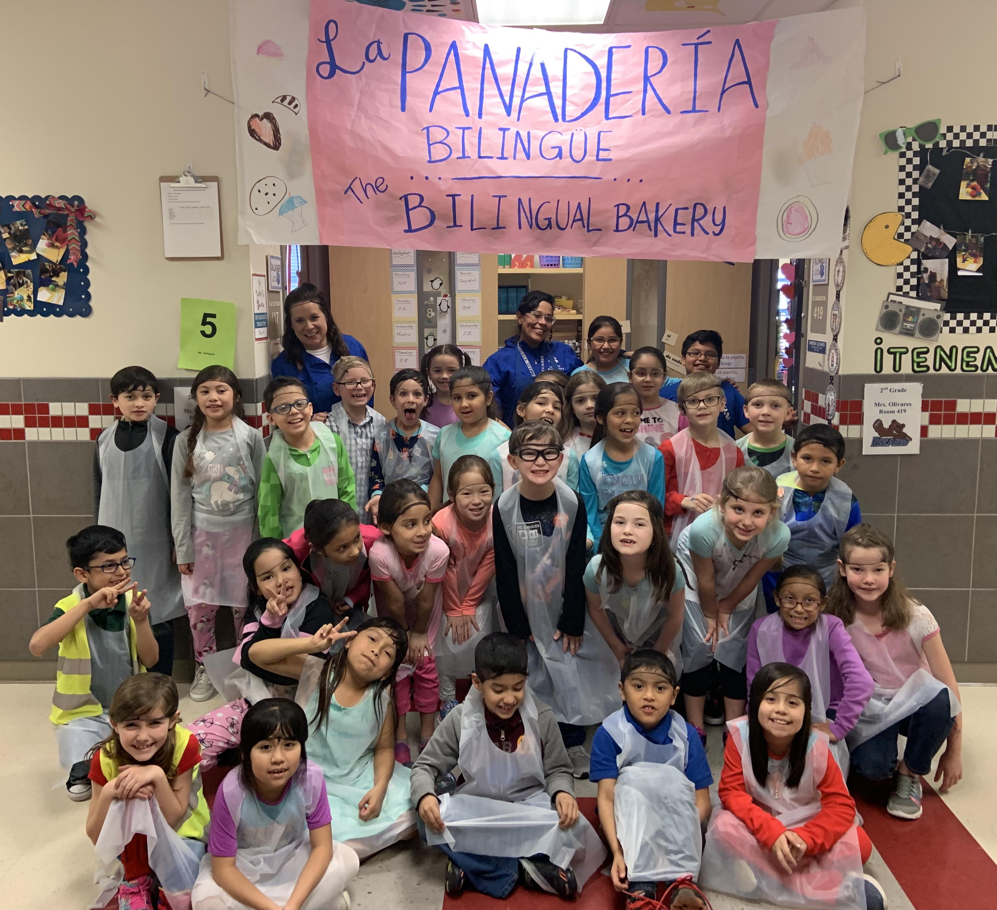 Liberty Elementary second grade dual language students opened La Pandora Bilingüe/The Bilingual Bakery for business as part of a recent classroom transformation.