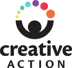 Creative Action logo. A black outline of a person has their arms in the air juggling colorful balls with the words