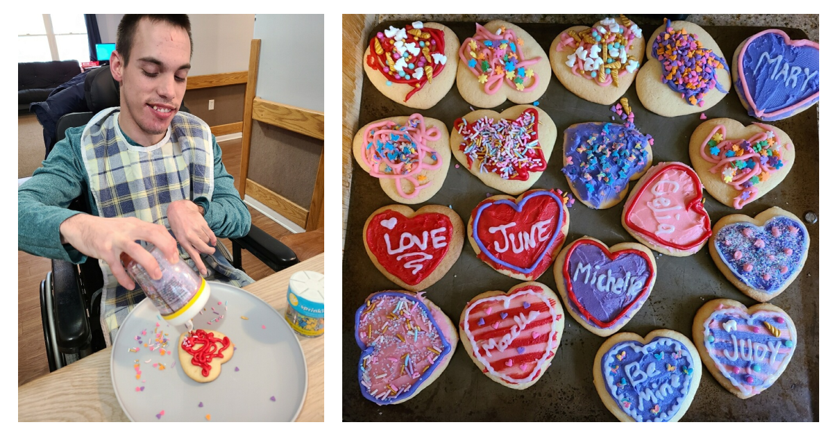 Valentine's Day collage of man decorating a cookie/tray of cookies