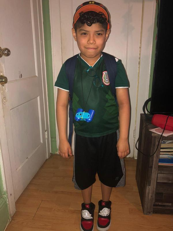 boy ready for his virtual field trip