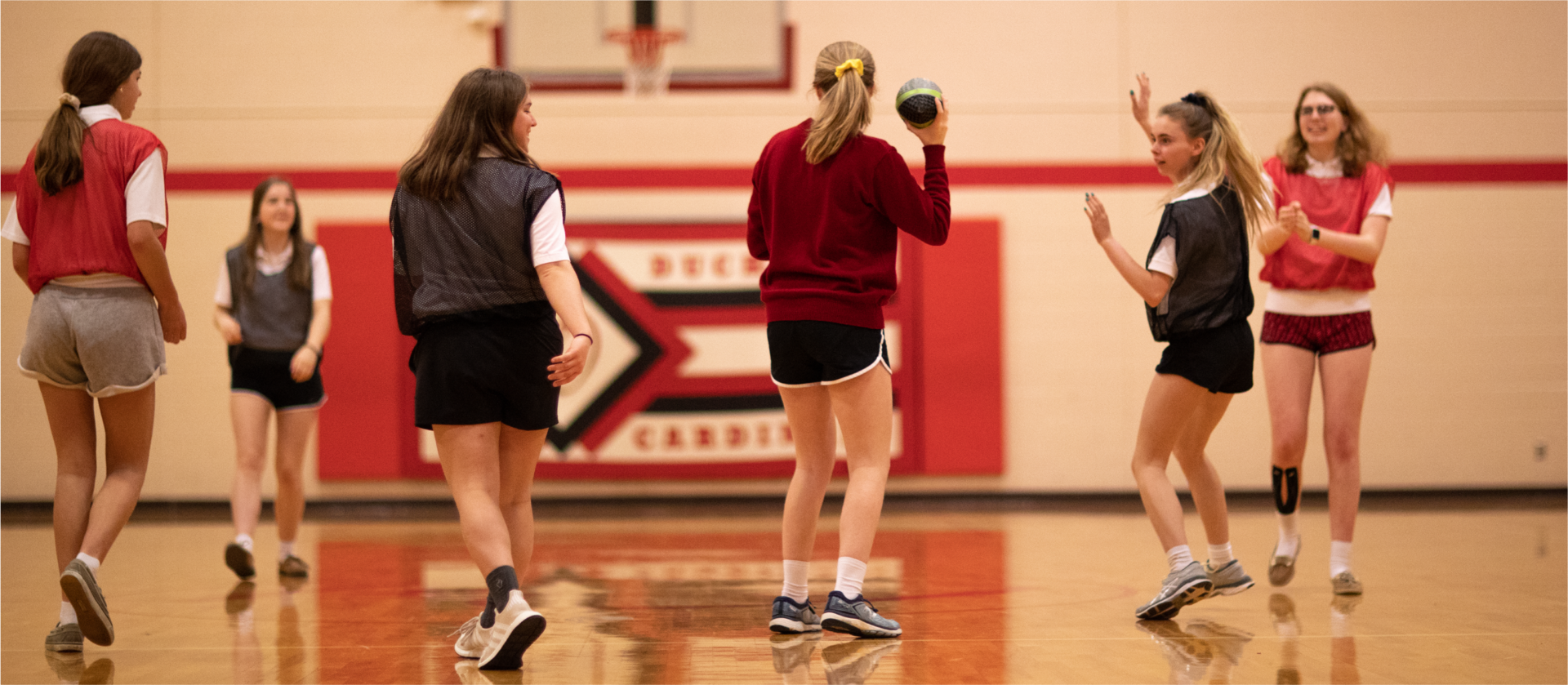 Students playing a game during PE