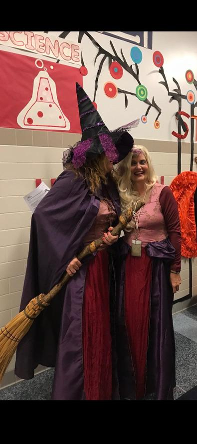 vp medina with principal tamargo dressed as witches