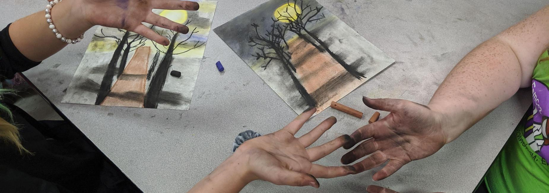 Art Club students and their work