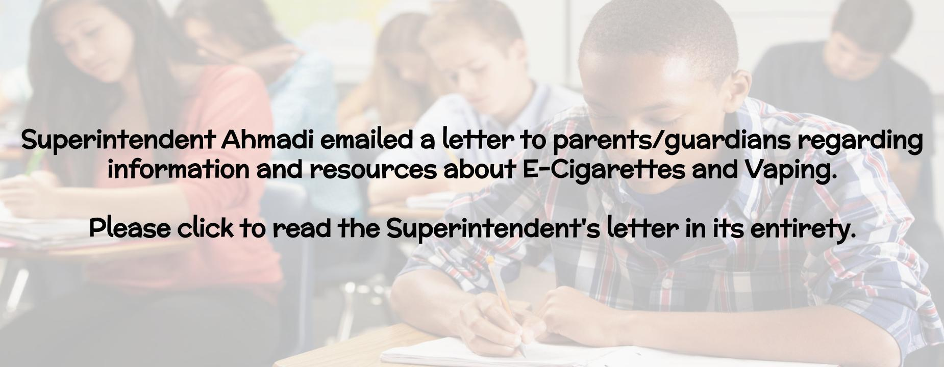 Vaping Letter from Superintendent