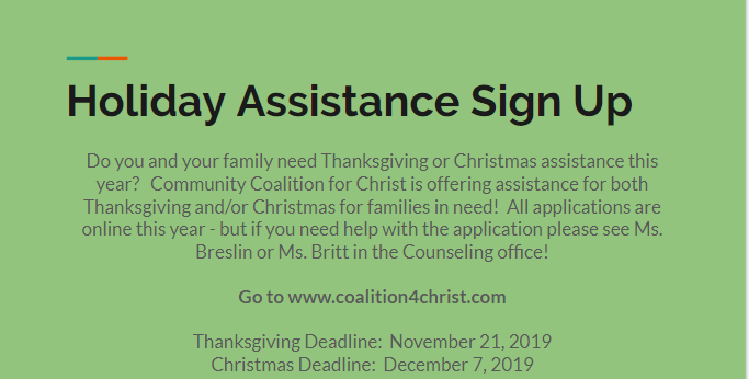 WSHS Holiday Assistance Sign Up Opportunity Featured Photo