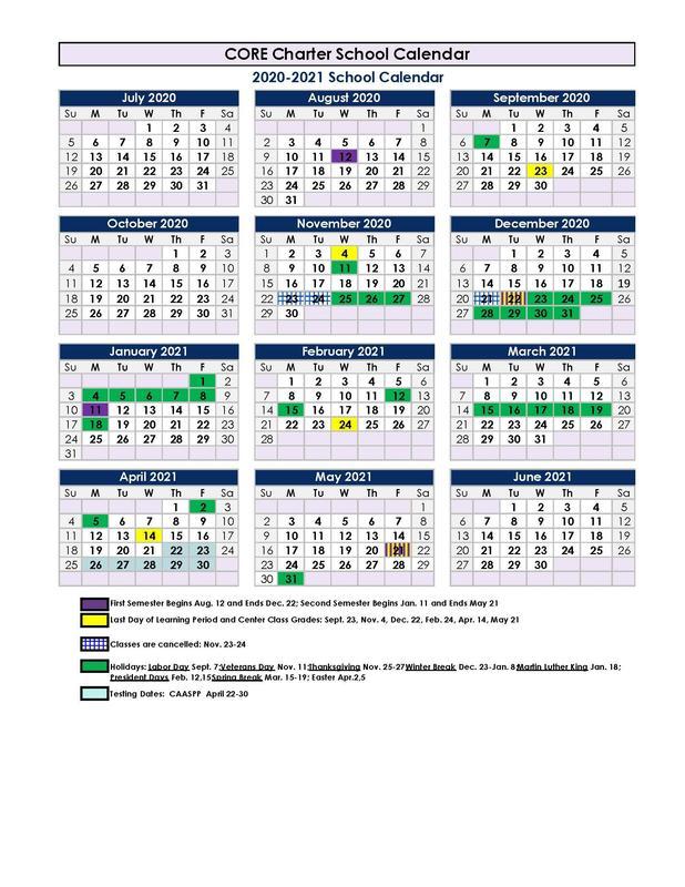 2020-21 Parent Calendar
