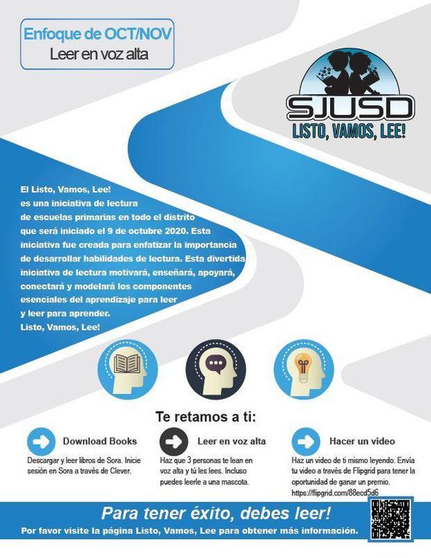 Ready, Set, Read Flyer in Spanish