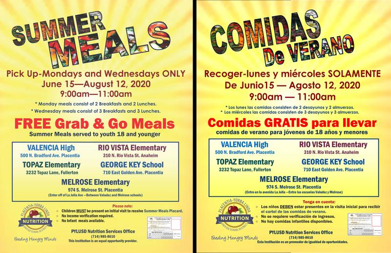 Summer Meal Service beginning June 15th CLICK HERE FOR FLYER - ENG and SP VERSIONS Thumbnail Image