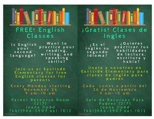 Free English Classes Flyer